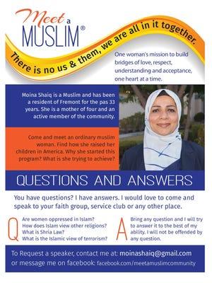 """Moina Shaiq hosts """"Meet a Muslim"""" events."""