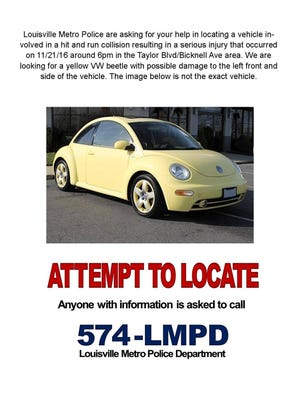 Louisville Metro Police is seeking help locating a Volkswagen beetle involved in a hit-and-run collision Monday near Taylor  and Bicknell. The car pictured is not the one in the accident.