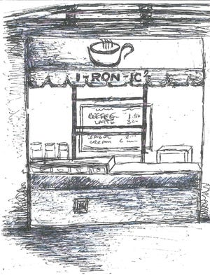A sketch of what I-ron-ic's new walk-up window at Continental Square will look like.