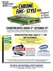 "Classic car advertising, concept art ""Chrome, Fins & Style"" will be on display at the Royal Oak Historical Society Museum from August 4th through September 16th."