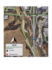 Construction near the Mount Rose exit on I-83 southbound will cause a detour, according to PennDOT. Photo courtesy of PennDOT.