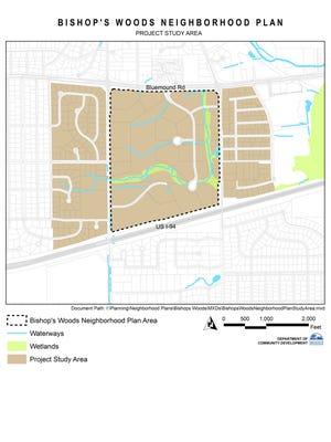 Bishop's Woods Neighborhood Plan Study Area Map