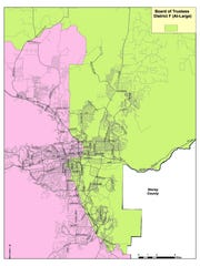 A map of Washoe County School District's school board District F.