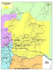 A map of Washoe County School District's school board District B.