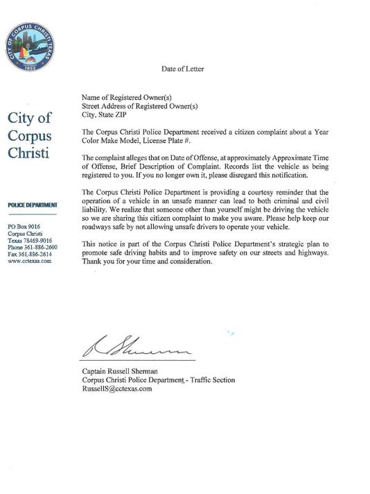 CCPD traffic letter
