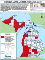 Lyme Disease map showing Livingston County in red,