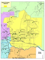 A map of Washoe County School District trustee District D.