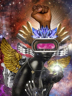 """The Harbinger"" by Stacey Robinson is an example of the ""Afrofuturist"" art that will be exhibited at Downtown's Art Village Gallery."