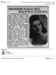 A News Leader clipping from the time Bertie Murphy was a student at Mary Baldwin.