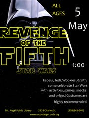 Mt. Angel Public Library invites all Rebels, Jedi, Wookies and Sith to its Revenge of the 5th party May 5.