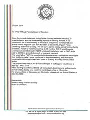 A letter from Sevier County Humane Society to Pets