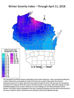 A map of Winter Severity Index (WSI) in northern Wisconsin showed a range of conditions, with the most severe readings occurring in Iron County.