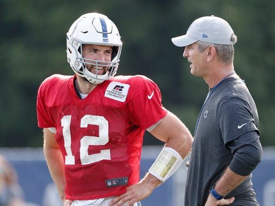 Indianapolis Colts quarterback Andrew Luck (12) talks