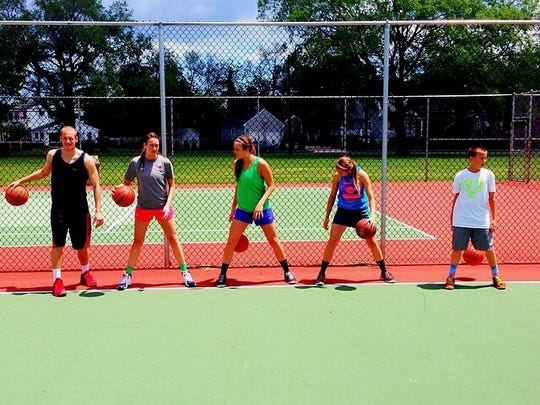 All five Mabrey siblings during one of many family training sessions.