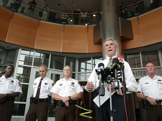 Robert McCulloch , prosecuting attorney for St. Louis County, addresses the media, Thursday in St. Louis. Officer Blake Snyder, a 33-year-old husband with a 2-year-old son, was shot point-blank after encountering the man accused of causing a pre-dawn disturbance in normally quiet, middle-class suburb of Green Park, Police Chief Jon Belmar said.