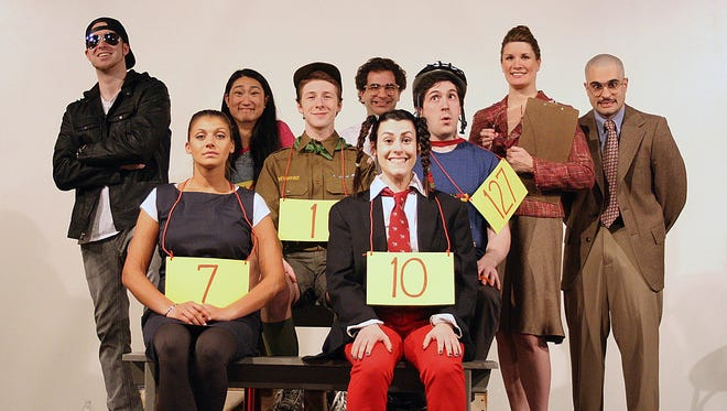 """Starring in SRO Productions III's """"The 25th Annual Putnam County Spelling Bee"""" are, from left at front, Tiffany Jhingoor and Annie Fabiano; at back, Josh Smith, Lauren Kovacic, Matt Edlind, Eric Bill, Austin Kiley, Laura Liburdi and Nick Ponterio."""