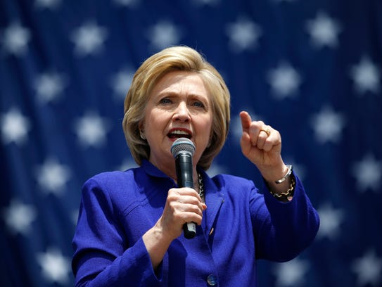 Hillary Clinton speaks at a campaign rally on June
