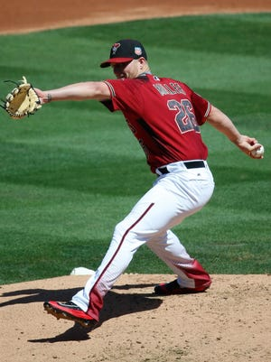 Diamondbacks' Shelby Miller pitches against the Indians during a Spring Training game at Salt River Fields at Talking Stick on Friday, March 25, 2016.
