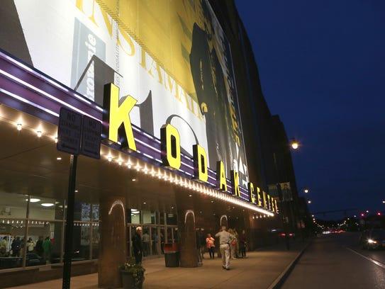 The Kodak Center Theater lit a new sign on September