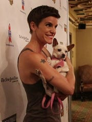 Jenn Colella at the 20th annual Broaday Barks, held July 14, 2018, at Shubert Alley in Manhattan.