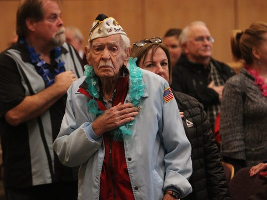 Pearl Harbor survivor, Art Wynant, participates in a Pearl Harbor ceremony Wednesday at the Shasta County Supervisors Chambers.