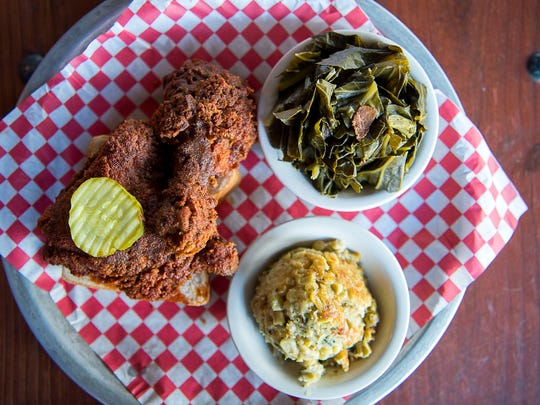 Rocky's Hot Chicken Shack now serves up their Tennessee style hot chicken and soul food at their new South Asheville location. Favorites include the leg and thigh combo with collard greens and corn pudding.