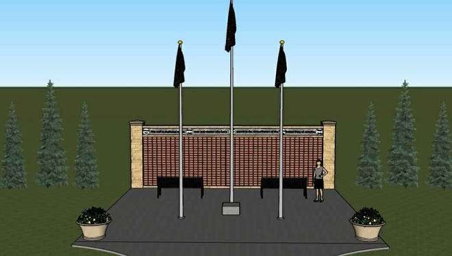 The Veterans Memorial Wall, represented by this artist's rendering, will be unveiled on Nov. 11 in La Vergne.