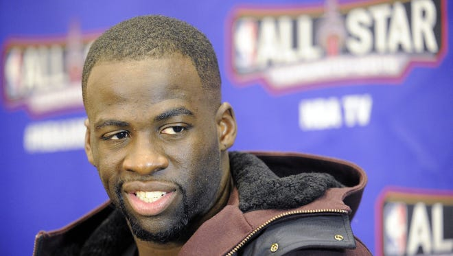 Western Conference forward Draymond Green of the Golden State Warriors (23) is interviewed during media day for the 2016 NBA All Star Game at Sheraton Centre.