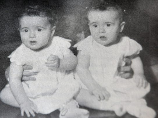 Rogene and Roberta Faulkner as babies. The twin sisters