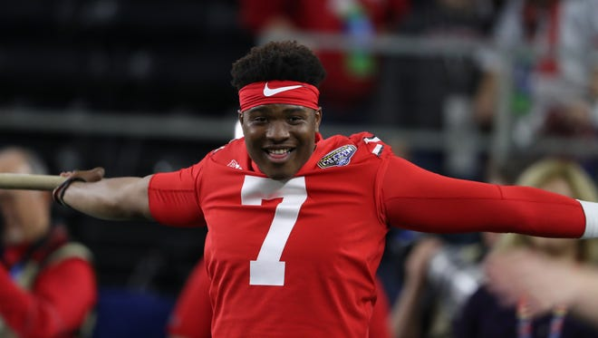 Dwayne Haskins, Ohio State's new starting quarterback, stretches before last season's Cotton Bowl win over USC.