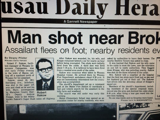 The front page of the Wausau Daily Herald on July 25, 1987, following the shooting a cabin in the town of Maine.