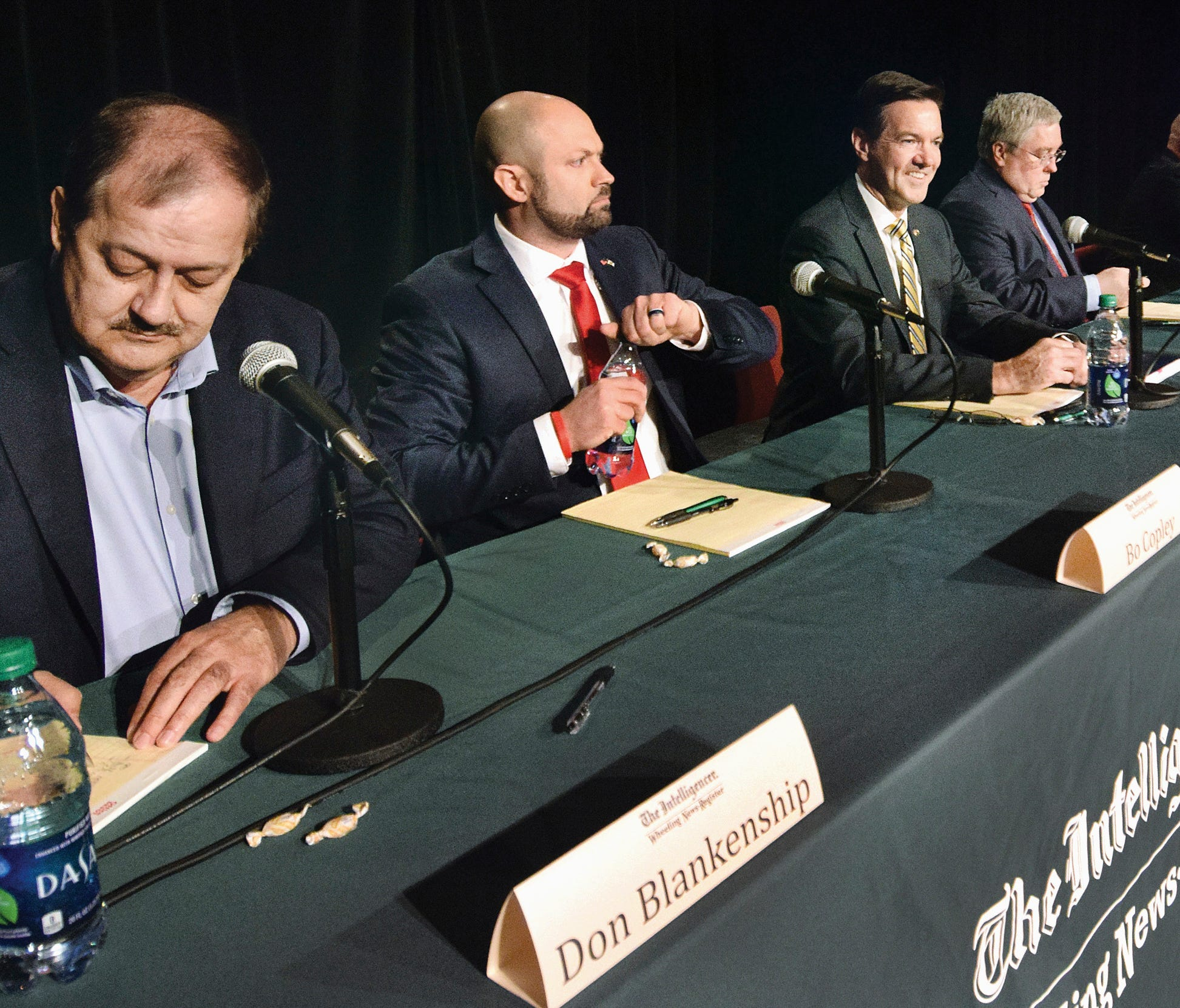 Candidates, from left, Don Blankenship, of Williamson, Bo Copley, of Delbarton; U.S. Rep. Evan Jenkins, R-W.Va., of Huntington, West Virginia Attorney General Patrick Morrisey, of Charles Town, Jack Newbrough, of Weirton, and Tom Willis, of Martinsbu