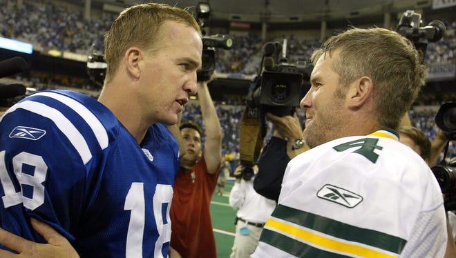 Peyton Manning (18) and Brett Favre, kindred spirits?