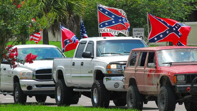 I've seen the waving of a huge Confederate Battle flag out of the back of a pickup truck many times around York County.