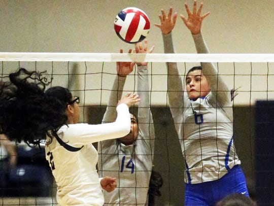 Leslie Esparza, left of Fabens tries getting the ball