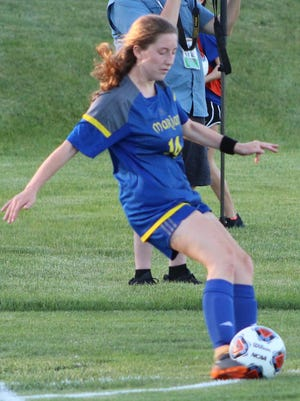 Junior midfielder Sara Stroud takes all the corner kicks for the top-ranked Marian Mustangs.