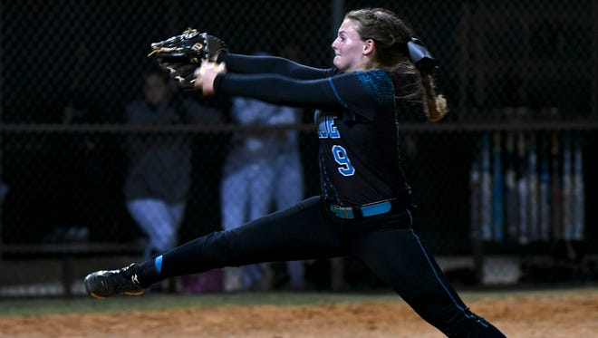 Bayside pitcher Caitlin Meyer throws during Tuesday's game against Viera.