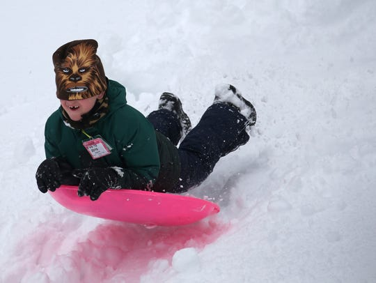 Finn Dreywood enjoyed sledding at Powder Mill Park in March 2018.