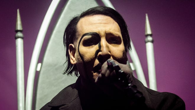 Marilyn Manson performs at a sold-out Eagles Ballroom at the Rave Saturday.