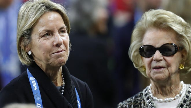 Sheila Ford Hamp, Detroit Lions Vice Chair, talks with Martha Ford, owner, before an NFL football game against the Minnesota Vikings in Detroit, Thursday, Nov. 24, 2016.