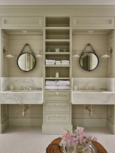 Separate vanities are one of the big trends for bathrooms