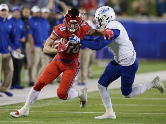 SMU receiver Trey Quinn runs after a reception against Tulsa on Oct. 20, 2017.