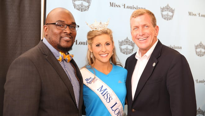 Rod Washington; Miss Louisiana 2014 Lacy Sanchez and State Sen. Mike Walsworth talk at the kickoff event for the Miss Louisiana pageant.