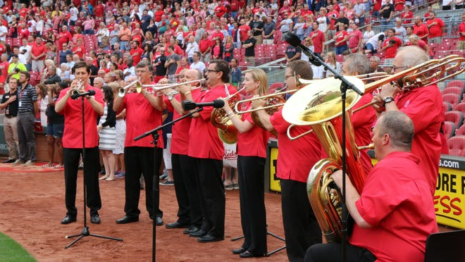 The Cincinnati Pops Brass Ensemble performing the National Anthem at a recent Reds game.