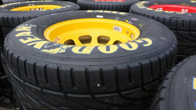Goodyear treaded Sprint Cup rain tires in the paddock at Watkins Glen International on Saturday.
