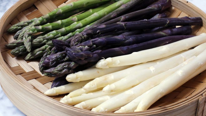 White asparagus is a little milder and more delicate in flavor than the green and purple varieties.