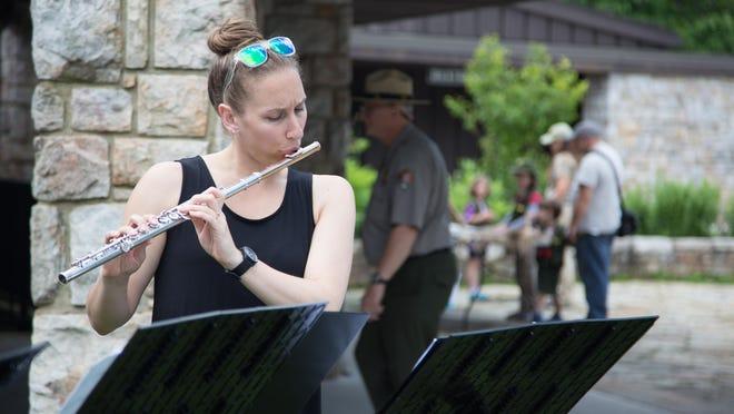 Flutist Emlyn Johnson of Rochester at the Byrd Visitor Center at Shenandoah National Park on June 18, 2016.