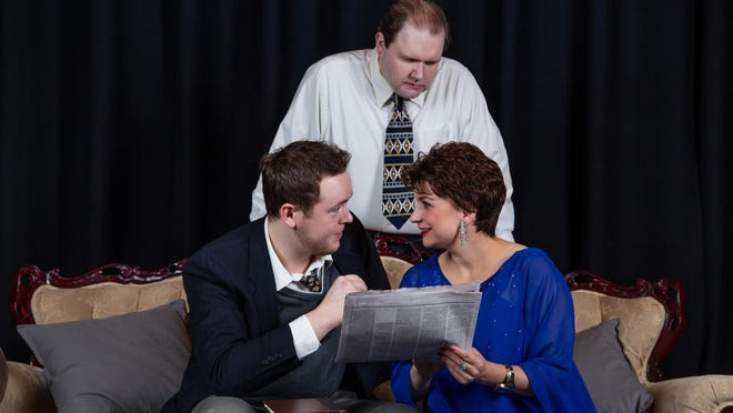 """Harrison Forman, Kevin McCarthy, and Grace Obee in the comedy, """"Born Yesterday"""", at The Center for Performing Arts in Rhinebeck opening Sept. 30."""