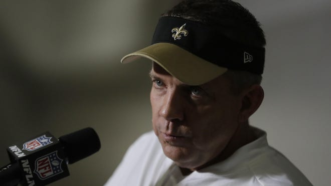 New Orleans Saints head coach Sean Payton speaks at a news conference after an NFL football game against the Atlanta Falcons, Sunday, Jan. 1, 2017, in Atlanta. (AP Photo/David Goldman)