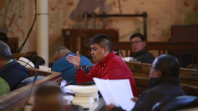 Navajo Nation Council Delegate Jonathan Hale speaks on Jan. 28 during the tribal council's winter 2016 session in Window Rock, Ariz. Hale is sponsoring legislation would change the name of the Navajo Nation to Diné Nation.